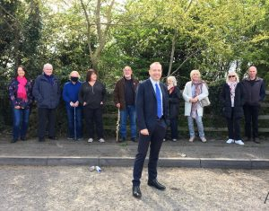 Chris HH MP at layby with residents